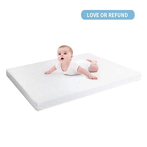 """RUUF Crib Mattress Topper, Premium Gel-Infused Memory Foam Crib Mattress Pad with Removable 100% Waterproof Cotton Cover, 52"""" x 27"""" x 2"""""""