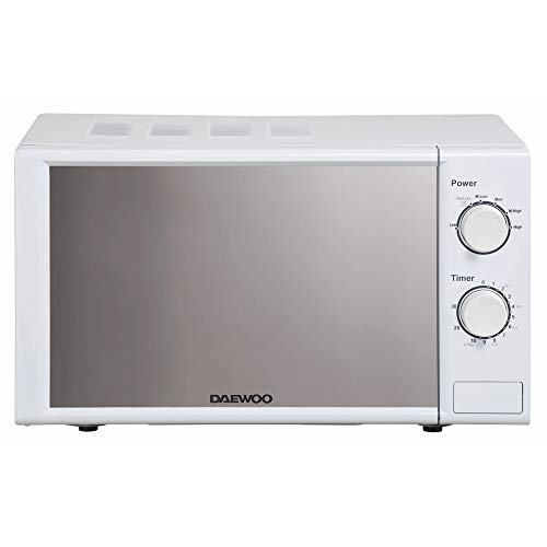 Daewoo 20L 800W Microwave with 6 Power Levels and Manual Timer Settings KOR7LC7BK Dial Controls with Auto Defrost, Push Release Door with Mirror Window and Glass Turntable- White