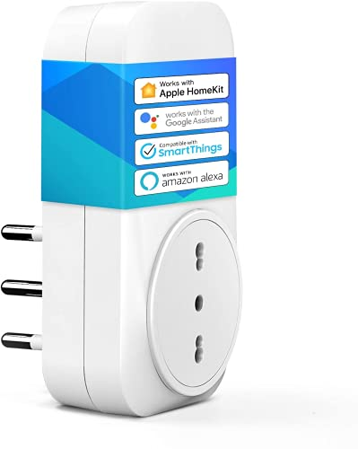 meross Presa Intelligente Italiana Smart Plug, Spina WiFi, Compatibile con HomeKit Siri, Alexa,...