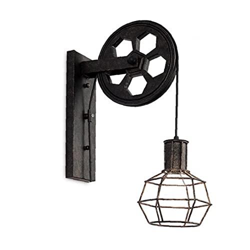 Runfon Lámpara de Pared de Hierro luz Retro Industrial Jaula Loft Polea...
