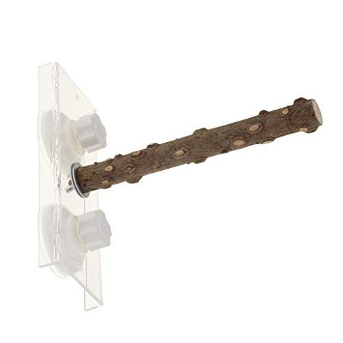 perfk Holz Sitzstange Vogelstange mit Saugnapf für Papageien/Wellensittiche/Nymphensittiche/Finken/Kakadus/Aras/Graupapageien - 30cm
