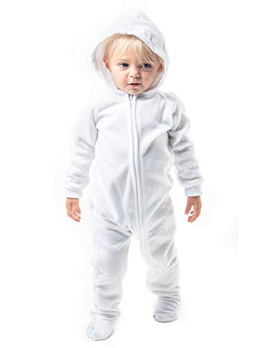 Footed Pajamas - Arctic White Infant Hoodie Fleece Onesie - Infant - XLarge (Fits 12-18mos.)