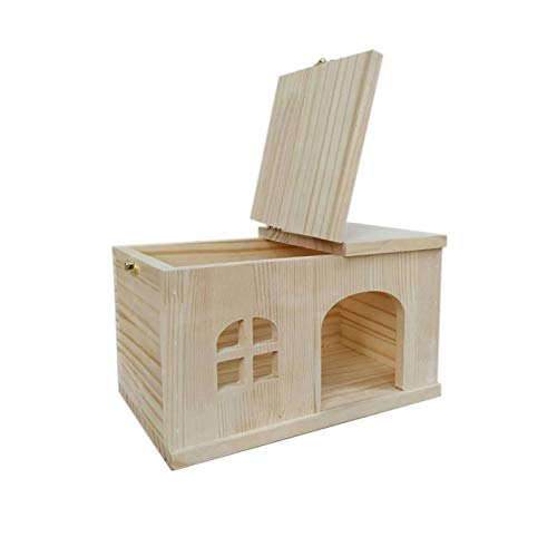 Willlly Igelhaus Holz Mit Boden Mit Windows Winterfest Igelhütte Totoro and Hamster Hase Chalet Igelhaus Outdoor Rattenklappe (Color : 2, Size : 15x14x12)