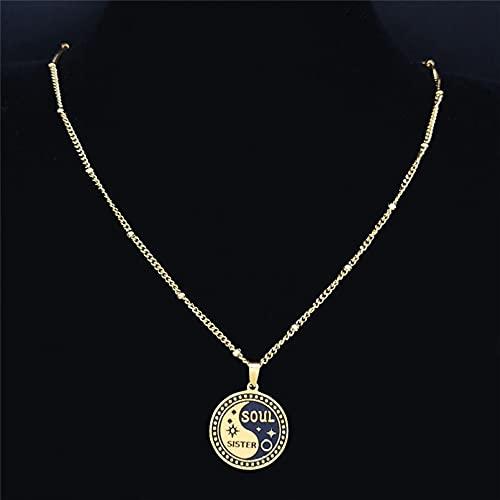 Collar Colgante Collar de cadena de acero inoxidable Yin Yang Gossip Star Soul Sister para mujer collar de Color colgante collar de joyería Collar amistad Aniversario San Valentín Cumpleaños Regalo