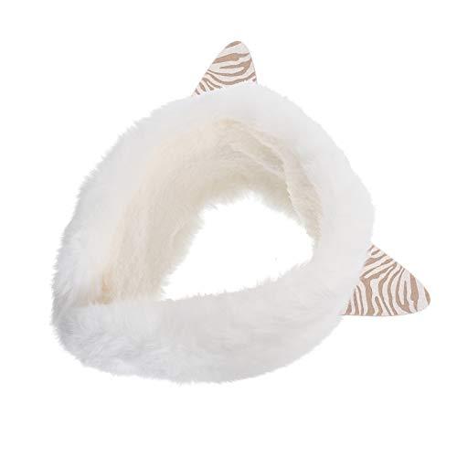 ABOOFAN Winter Fleece Katze Ohrwärmer Muffs Stirnband Mädchen Winter Warme Weiche Ohrabdeckung Ohrenschützer Plüsch Stirnband Weiß