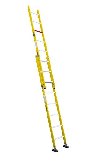 Escalera aislante de dos tramos extensible manual, fabricada en fibra de vidrio (2 tramos x 8 peldaños)