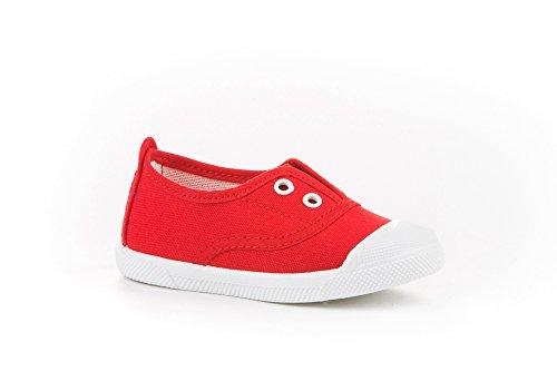 Zapatillas de Lona con Puntera Reforzada para Niños y Niñas, Angelitos mod.124, Calzado infantil Made in Spain, Garantia de Calidad. (24, Rojo)