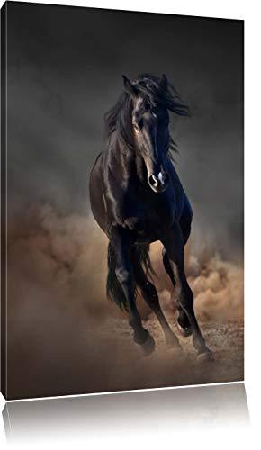 Pixxprint Elegantes schwarzes Pferd Schwarz/Weiß, Format: 100x70 auf Leinwand, riesige Bilder fertig gerahmt mit Keilrahmen, Kunstdruck auf Wandbild mit Rahmen