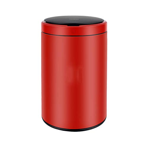 NYKK Papeleras Bote de Basura Inteligente Impermeable 12L Falta de Basura doméstica de inducción con Tapa Simple de Papel de Basura automática para Cocina de baño de baño (Color : Red)
