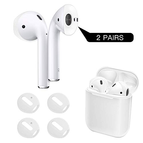 DamonLight {Fit in The case} AirPods Covers Compatible with AirPods 2&1 or Earpods Anti-Slip Silicone Soft Sport Covers Accessories for Apple AirPods 2 Pairs (White)
