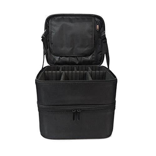 Boîte à Bijoux Sac Cosmétique Multi-Fonction Sac de Maquillage Double Portable Sandwich Multi-Fonction Portable Sac de Rangement étanche Noir
