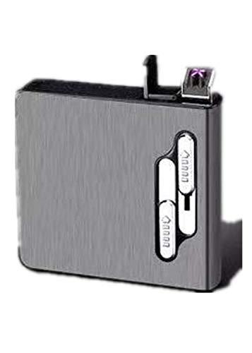 Pitillera con encendedor de arco doble, 20 unidades, caja de cigarrillos de tamaño normal, recargable, resistente al viento, sin llama, mechero USB portátil en King, Negro (Plateado) - ZYW-AREX2A