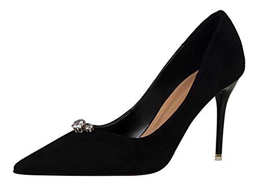 T&Mates Womens Versatile Classic Suede Rhinestone Pointy Low Cut Stiletto High Heel Pumps Shoes (5 B(M) US,Black)
