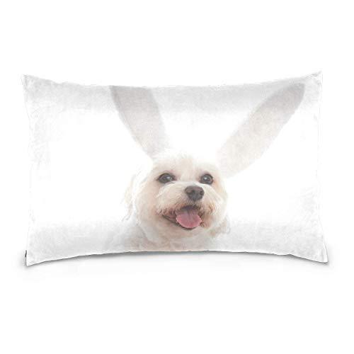 AEMAPE Happy Easter Bunny Dog Throw Pillow Cover Funda de cojín Funda de Almohada Decorativa con Cremallera Invisible 50X75 Cm