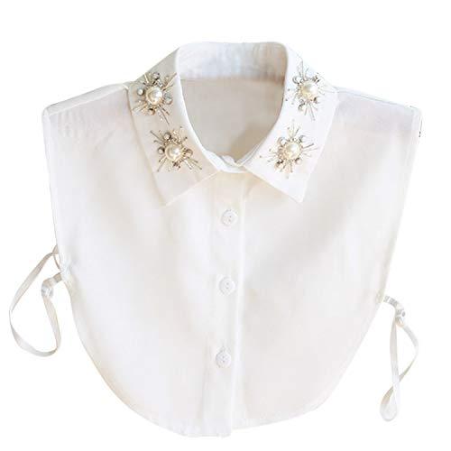 Hocaies Frauen Kragen Vintage Elegante Abnehmbare Hälfte Shirt Bluse Cotton Kragen Weiß Damen Blusenkragen (Pearl V2)