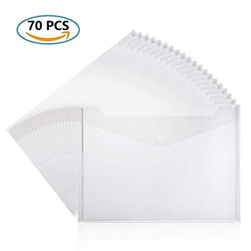 YIY Premium Veelkleurige A4 Plastic Portemonnees Folder Foolscap Document Bestanden Popper Portemonnee Envelop Mappen Zakken Helder 70 Transparant