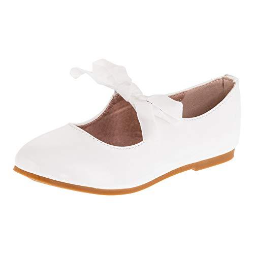 Dorémi Festliche Kinder Mädchen Ballerinas Schuhe für Kommunion Hochzeit Party Freizeit M482ws Weiß 36 EU