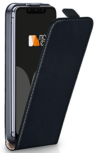 moex Flip Case für Xiaomi Pocophone F1 - Hülle klappbar, 360 Grad Klapphülle aus Vegan Leder, Handytasche mit vertikaler Klappe, magnetisch - Schwarz
