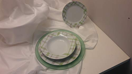 Juego de platos de 18 piezas: 6 platos llanos de 27 cm, 6 platos hondos de 21,5 cm, 6 frutas de 19 cm con 6 bajoplatos de cristal satinado verde de 32 cm. Modelo Scott Green