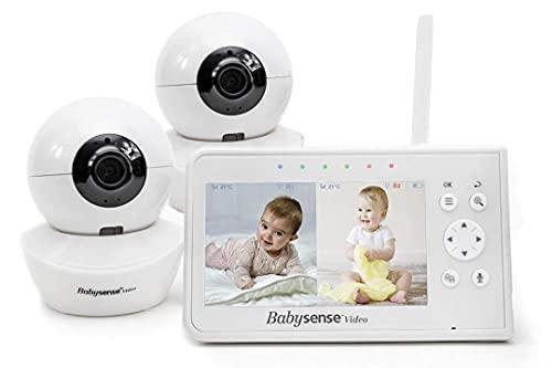 BabySense Vigilabebés con video, pantalla dividida de 4.3'con dos cámaras y audio, giro e inclinación remotos, alcance de 300 m (espacio abierto)