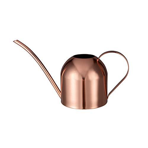 IMEEA Regadera de acero inoxidable de 1 L para plantas de interior, flores, riego con boquilla larga (oro rosa)
