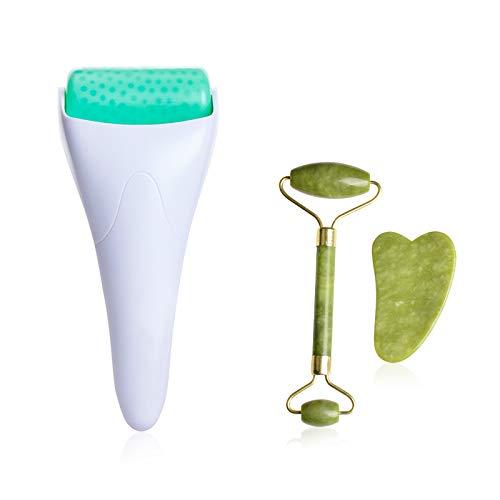 Rodillo De Jade,Original Jade Roller Rodillo de Piedra De Jade rodillo facial con rodillo facial de jade y masajeador Gua Sha y rodillo de hielo Kits masajeador facial de rodillo de jade para facial
