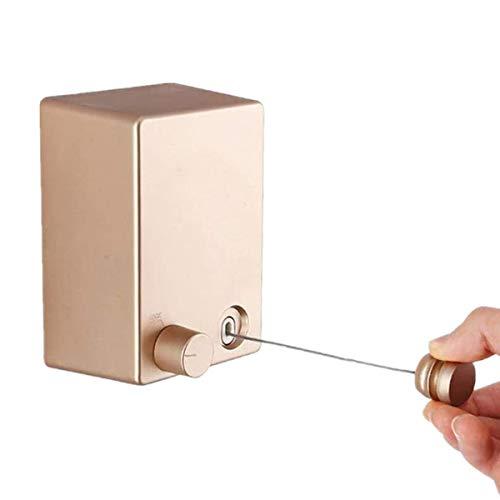 Youngine Tendedero retráctil de Pared para Interiores y Exteriores, con Cuerda de Acero de 4,2 m, Gancho de Cuerda Ajustable, sin Necesidad de taladrar y Autoadhesivo (Oro)