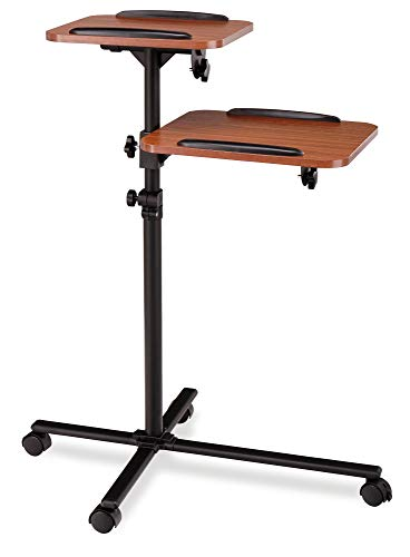 Pronomic PT-6 MKII Beamer- und Projektorwagen Beamertisch Rollwagen Medienwagen für Video-, Dia-, Overhead-Projektoren, Laptoptisch, Notebooktisch (höhenverstellbar, Ablageflächen, neigbar) Holzoptik
