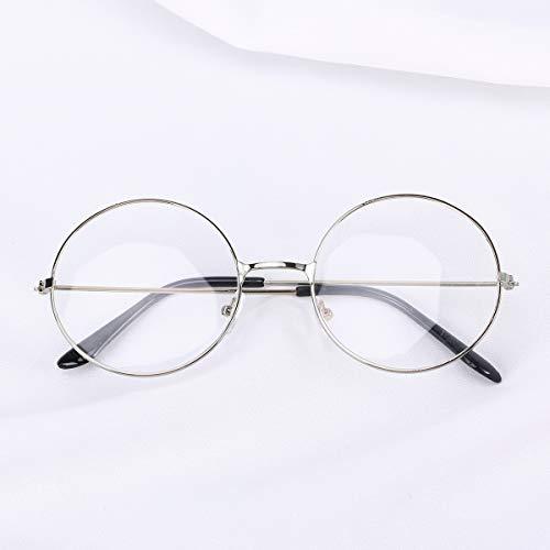 ROSENICE Round Eyeglasses Unisex Retro Clear Lens Glasses Ultra Light for Cosplay(Silver)