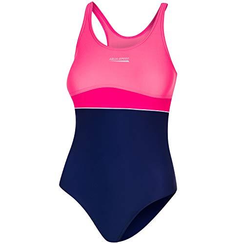 Aqua Speed Einteiler Badeanzug Mädchen 6/7 Jahre | Schwimmanzug Training | sportliche Badebekleidung für Kinder mit UV-Schutz | Sport | Wettkampf | 43 Navy - Raspberry - Coral | Emily