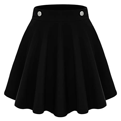 Damen Basic Solide Vielseitige Dehnbar Informell Mini Glocken Rock Schwarz Skater Faltenrock Tennis Skirts Black S