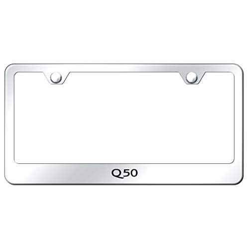 Infiniti Q50 License Plate Frame Laser Etched Stainless Steel Standard Bright Mirror Chrome
