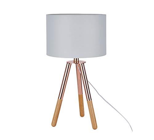 Sit Möbel This & That tafellamp frame Hevea en eiken, kap textiel L = 30 x B = 30 x H = 55 cm frame koperkleurig en natuur, kap lichtgrijs