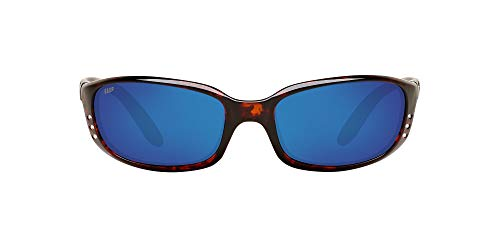 Costa Del Mar Men's Brine Polarized Oval Sunglasses, Tortoise/Grey Blue Mirrored Polarized-580P, 59 mm