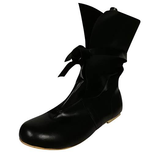 Dorical Schnürstiefeletten mit Absatz für Damen/Frauen Übergrößen Stiefeletten Schnürboots Stiefel Schwarz Damenstiefel leicht gefüttert Gr 35-43(Schwarz,37 EU)