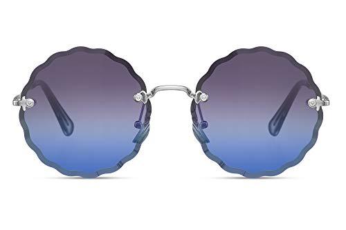 Cheapass Gafas de Sol Metálicas Plateadas Redondas Sin montura Estrella Forma Talladas Negras a Azul Gradual Lentes Protección UV400 Mujeres