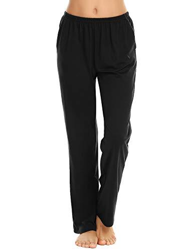 Schlafanzughose Damen Pyjamahosen Lang Jerseyhose Unifarbe Hausehose mit Zwei Taschen, 9750_schwarz, Gr.- XXL