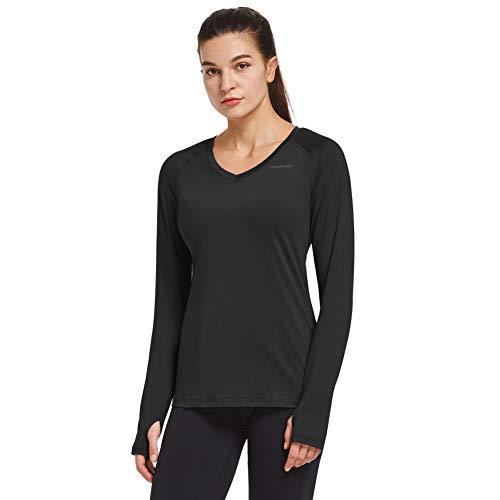 Ogeenier Maglia a Maniche Lunghe T Shirt da Donna con Scollo a V Senza Etichetta T-Shirt Maglietta da Sportivo Palestra Corsa