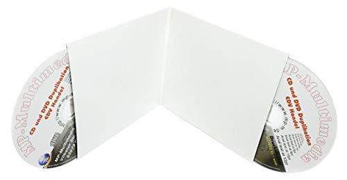 100 Doppel-CD Kartonstecktaschen Leere CD Doppelhüllen aus Karton (2er Papphüllen) weiß für je 2 Rohlinge oder 1 Rohling und Booklet, Made in Germany