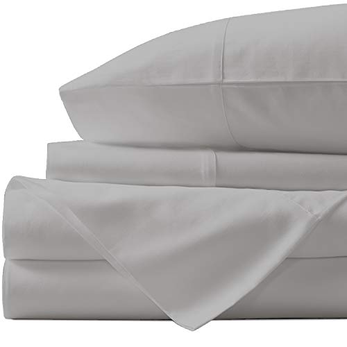 URBANHUT Egyptian Cotton Sheets Set - 1000 Thread Count 100% Cotton Bed Sheets Queen (4 Piece), Luxury Queen Size Sheets, Deep Pocket, Soft & Silky Sateen Weave (Silver Grey, Queen)