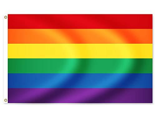 Alsino LGBT Flagge groß Peace Schwule Lesben Regenbogen Flagge Rainbow Fahne, 150 cm x 90 cm Frieden, Regenbogenfahne, Flaggenregenbogen Wetterfest und Rissfest Fl-32