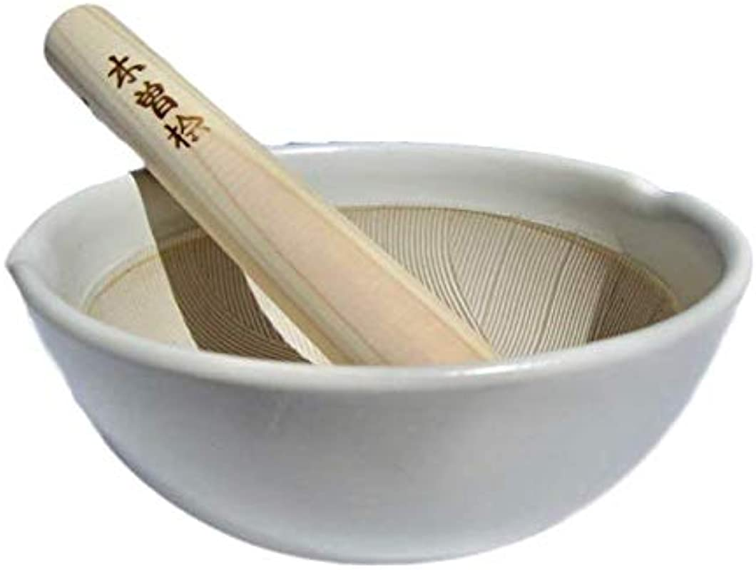 Made In Japan Ripple Ridge Mortar Pestle Suribachi Surikogi Set 6 6 Inches For Both Right And Left Handed Ivory Authentic Mino Ware Pottery M87852