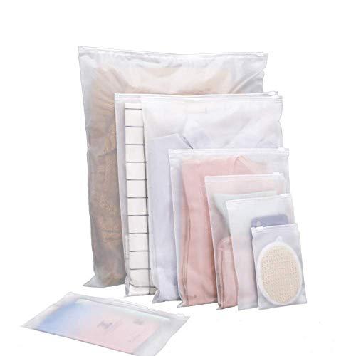Voarge 20 organizadores de viaje de plástico satinado con cierre de cremallera, impermeables y transparentes, ideales para viajes y equipajes (25 x 35 cm)