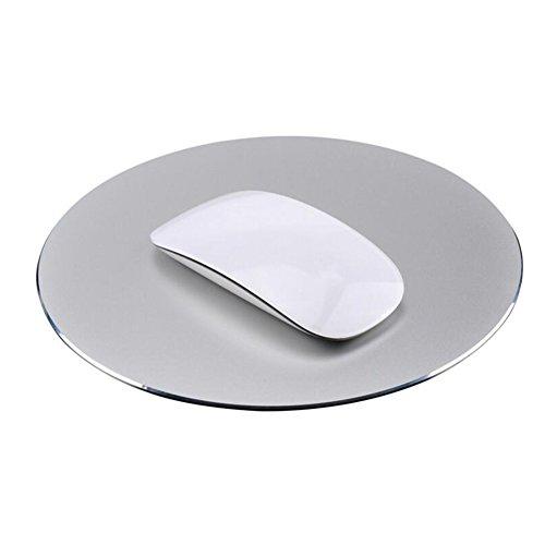 HOTSO Tapis de Souris en Métal Réversible Imperméable en Aluminium Jeu de Souris avec Fireproof Antidérapant Caoutchouc Base Portable Tapis de Mousepad - Argent
