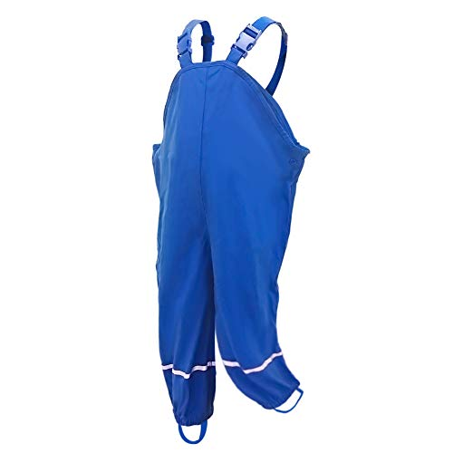 AMIYAN Kinder Regenlatzhose Regenhose wasserdichte Atmungsaktiv Buddelhose Matschhose mit Hosenträgern für Mädchen Jungen Blau 122/128
