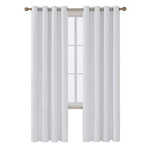 Deconovo Panel de Cortina para Ventana con Aislamiento térmico para oscurecer la habitación, para Sala de Estar, Estrellas, Color Blanco, 132 x 213 cm
