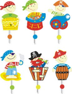 6 Stück Gaderobenhaken Pirat (Wandhaken, Kleiderhaken)
