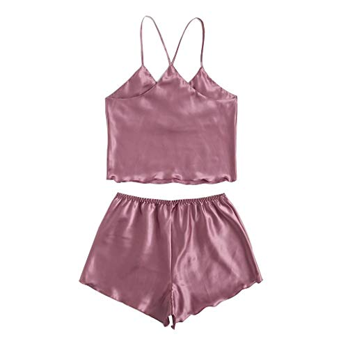KANGMOON Womens Sexy Lingerie Silk Satin Pajamas Cami Shorts Set Sleepwear