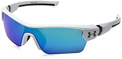 Under Armour Kids' Menace Wrap Sunglasses, SATIN WHITE/GRAY WITH BLUE MIRROR, 58 mm