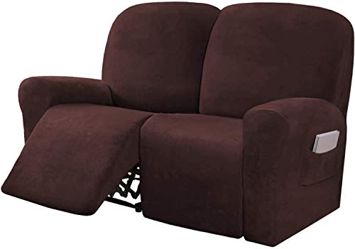 LINFKY 6-Pieces Stretch Velvet Loveseat Recliner Cover Reclining Couch Covers for 2 Seater Couch Furniture Covers for Recliner with Side Pocket, Soft Thick Form Fitted (Brown)